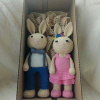 Amigurumi/Boneka rajut Bunny Boy & Girl / Gift set
