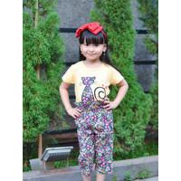 Baju Setelan anak perempuan kaos dan celana kulot 7/8 usia 6-8 tahun
