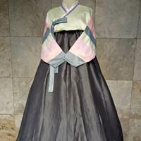 hanbok baju adat tradisional korea costume kostum warna abu
