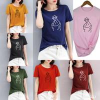 Kaos wanita sarangheo / atasan wanita cotton combed 30s - M, Hitam