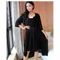SKA110 Lingerie Kimono Hitam Full set - Baju Tidur Tipis Wanita