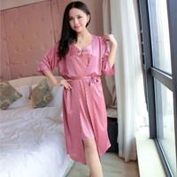 SKA179 Dress Lingerie Kimono Pink Nude set - Baju Tidur Tipis Wanita
