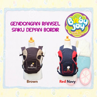 Baby Joy gendongan ransel 2 in 1 BJG 3005 saku depan bordir