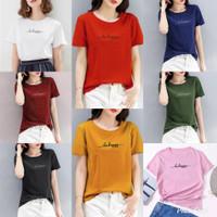 Kaos wanita bee happy / baju atasan wanita cotton combed 30s - M, Hitam