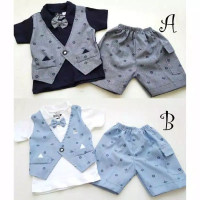 Baju bayi laki-laki setelan jas rompi dasi anak cowok