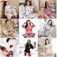 Stelan Piyama Import Wanita Baju Tidur Tangan Panjang Motif Korea