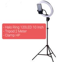 Paket Zoom Meeting Streaming Vlog Lampu Halo Ring + Tripod + Clamp HP