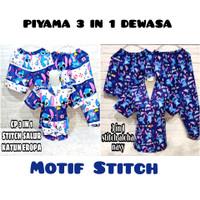 PIYAMA 3 IN 1 DEWASA MOTIF STITCH/ Baju tidur Allsize fit to xl