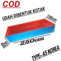 terpal kolam ikan ukuran (250x100x50) type a5 korea - BIRU-OREN, 250x100x50