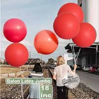 balon latex doff jumbo MERAH / balon doff dekorasi 18 inch / balon