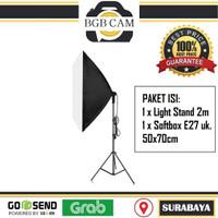 Set Softbox isi 1 Light stand + 1 Soft Box 50x70cm Paket Lampu Studio
