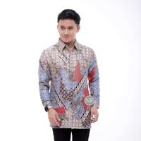 Baju Batik Pria Semi Sutra Lengan Panjang / Batik Kantoran Terbaru