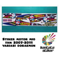 Stiker striping motor mio sporty doraemon biru-hitam