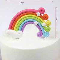 Colorful Rainbow Kue Topper Selamat Ulang Tahun awan pelangi