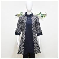 Baju Tunik Batik Cap Wanita Motif Rumput Rit Belakang Murah