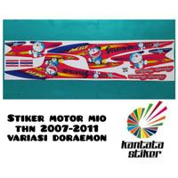 Stiker striping motor mio sporty doraemon biru-merah