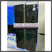 KULKAS AQUA BY SANYO AQR-IG525AM SIDE BY SIDE 4 PINTU INVERTER GLASS