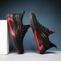 Sepatu Sport Sneakers Pria Running Fashion Import Hitam Merah - M02