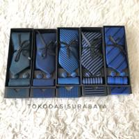 Gift set blue biru motif isi dasi panjang, pocket square, cufflinks