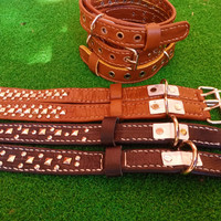 kalung anjing bahan kulit sapi asli