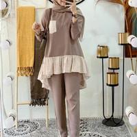 Baju Setelan Gamis Syari Wanita Muslim Terbaru Kiyomi Set Baju Celana