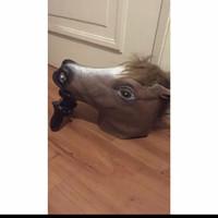 topeng kuda lumping coklat poni unicorn horse mask karet latex grosir - coklat poni