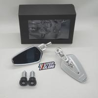 Coffin Full cnc Bar end Spion mirror silver vespa LX S Sprint Prima gt
