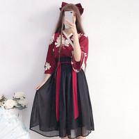 CC-128 hanfu unisex wanita baju tradisional cina han kimono cosplay