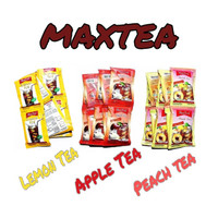 MaxTea LEMON TEA, APPLE TEA, PECH TEA Renceng Isi 10 Sachet 20g