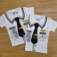 Baju Atasan Kaos Anak Laki Laki Cowok Profesi Pilot Putih