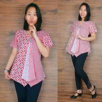 SB Collection Atasan Blouse Ulvy Kemeja Lengan Pendek Batik Wanita