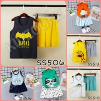 Setelan baju celana singlet Anak Import Adem katun laki perempuan - 90 1-2Tahun, SS517