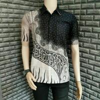 Baju Batik Pria Kemeja Lengan Pendek Monokrom