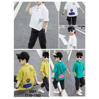 Setelan Kaos Koko Celana Selutut Model Korea Anak Laki-Laki / Set Baju