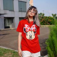 KAOS LCC COUPLE FAMILY KAOS WANITA KAOS LUCU kaos keluarga baju couple - Merah, Dws Allsize M