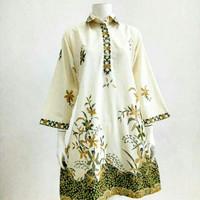 Baju atasan wanita blouse tunik batik primis jumbo ld 120 modern