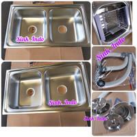 Bak Cuci Piring Set westafel Kitchen Sink 2 lubang uk 85cm Wastafel