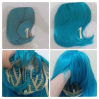 Wig/Rambut palsu cosplay pendek warna biru toska/tosca muda