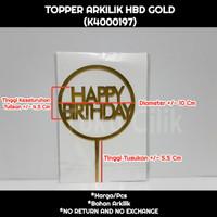 topper+arkilik+happy birthday+bulat+emas+gold+round+tusukan+kue+bento