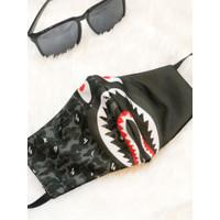 Masker Hypebeast Bape Shark Grey Army