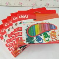 Deli Plastic Crayon C200 Triangle 18 Warna - Deli Pensil Krayon