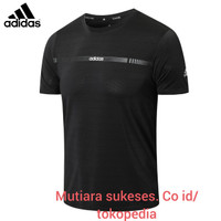 kaos running baju gym fitnest slimfit elastic procombat import adidas - XXL