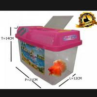 Mini Aquarium Terarium Plastik Untuk Ikan Dan Kura-kura Sedang Pink