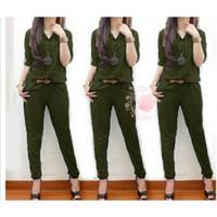 jumpsuit lolita hijau army baju remaja wanita xl terbaru murah lol gm