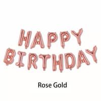 Balon Huruf Happy Birthday Rose Gold Set polos Balon Foil Ulang Tahun