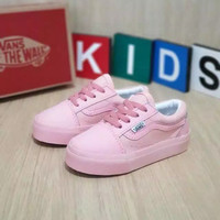 sepatu Vans anak pink tali putih