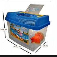 Mini Aquarium Terarium Plastik Untuk Ikan Dan Kura-kura Sedang Biru