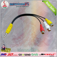 Kabel Aux 3.5mm Male Stereo To 3 RCA Female Audio Video AV Adapter.