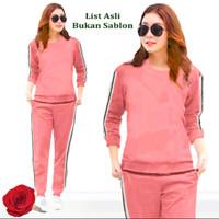 Baju Setelan Training Wanita Atasan Celana Olahraga Terlaris - Pink, XL