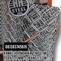 Kawat Harmonika galvanis tebal +-2,7mm tinggi 1,5m lobang 5,5cm hrga/m